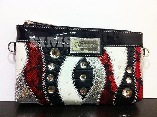 Wristlet BagBlack and Red,Leather,Bling pouch w/ Rhinestones
