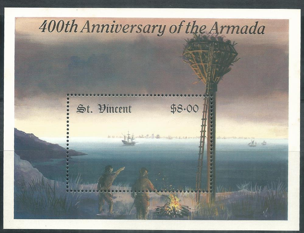 WS-46M ST VINCENT 400TH ANNIV OF THE ARMADA MINIATURE SHEET- YLF