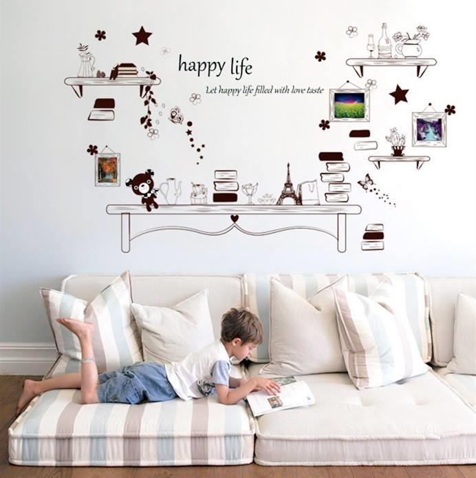 WS0282 HAPPY LIFE BOOK SHELF WALL STICKER