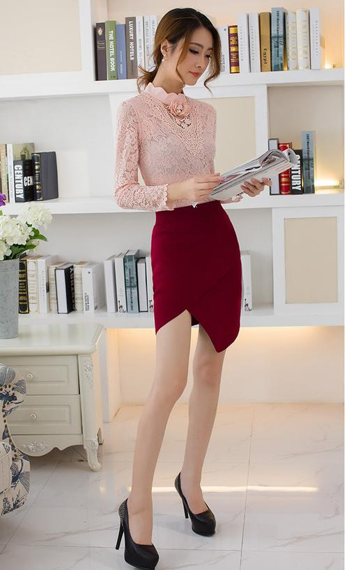 WT6676 Fashion Lace Top Pink