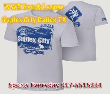 WWE WWF T Shirt Brock Lesnar Suplex City Dallas Baju WRESTLING GUSTI
