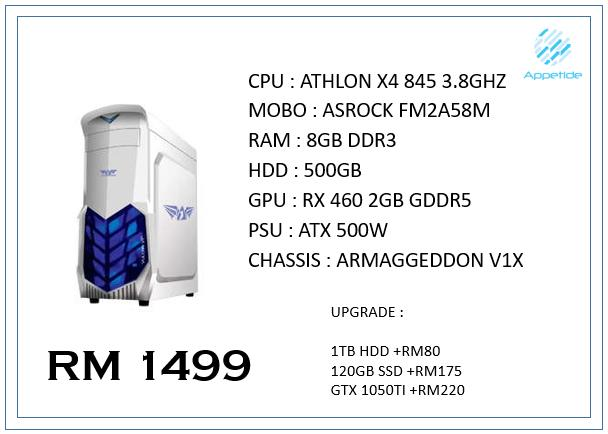 X4 845 / 8GB DDR3 / RX 460 GAMING PC