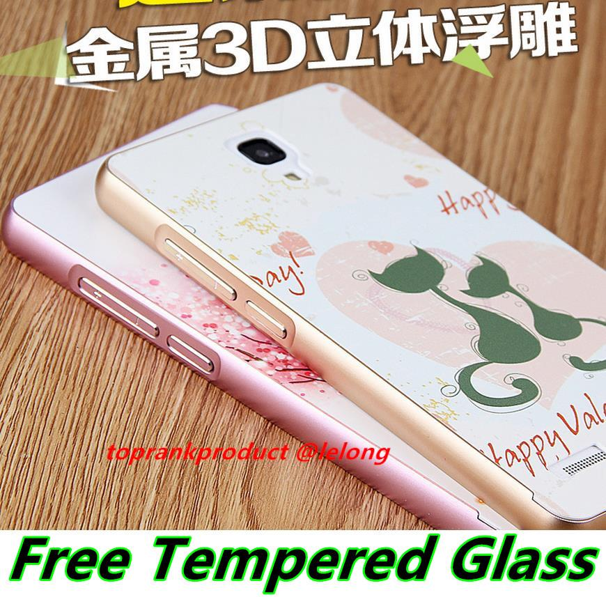 Xiaomi Hongmi Redmi Note 3D Relief Metal Case Cover Casing + Glass SP