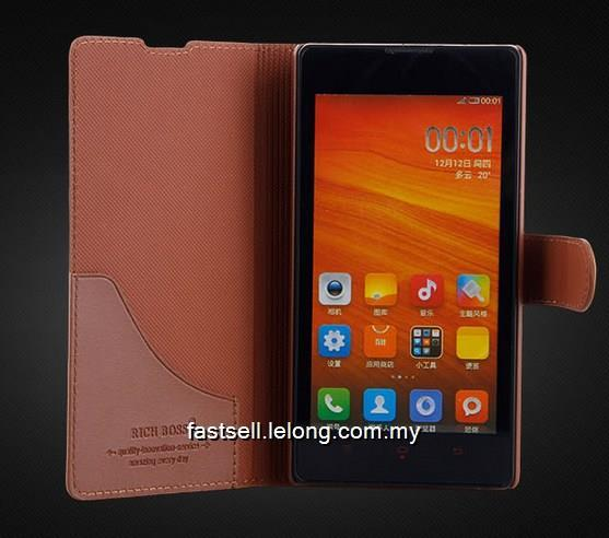 Xiaomi Redmi 1S 4G Cow Leather Case Casing Cover Flip Clamshell Wallet