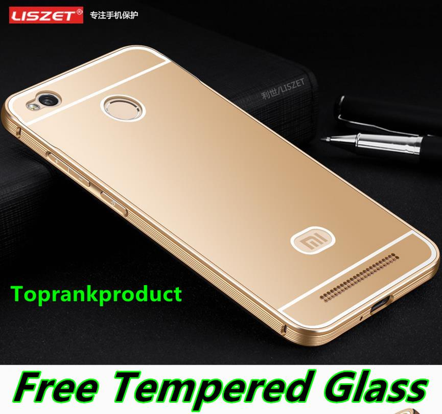 Xiaomi Redmi 3 3S / Pro Metal Frame Case Cover Casing + Tempered Glass