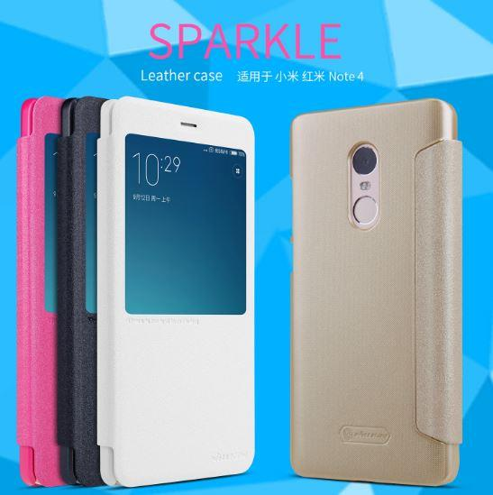 XIAOMI REDMI NOTE 4 ORI NILLKIN SVIEW SPARKLE LEATHER FLIP CASE