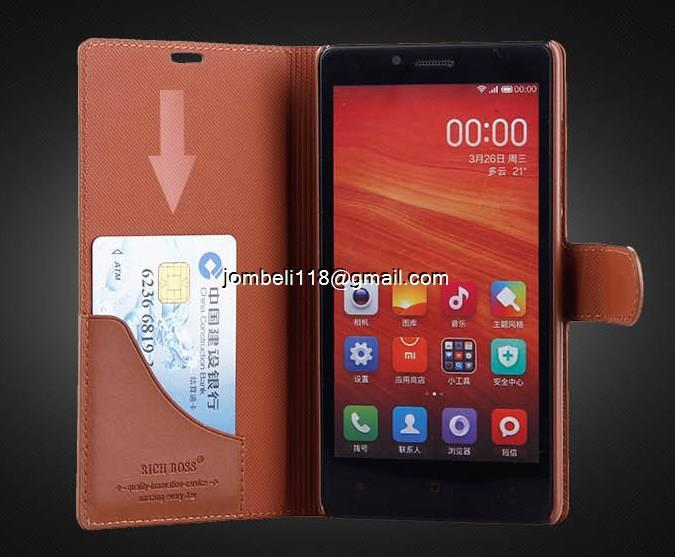 Xiaomi Redmi Note & Note 2 Cow Leather Case Casing Cover Flip Wallet