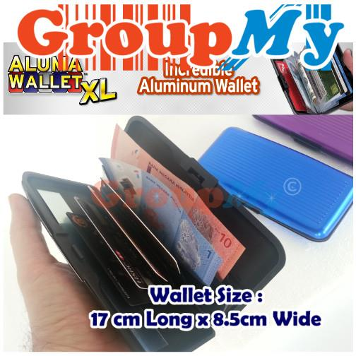 XL Extra Big Aluma Wallet Credit Card ID Holder Aluminum Case Waterpro