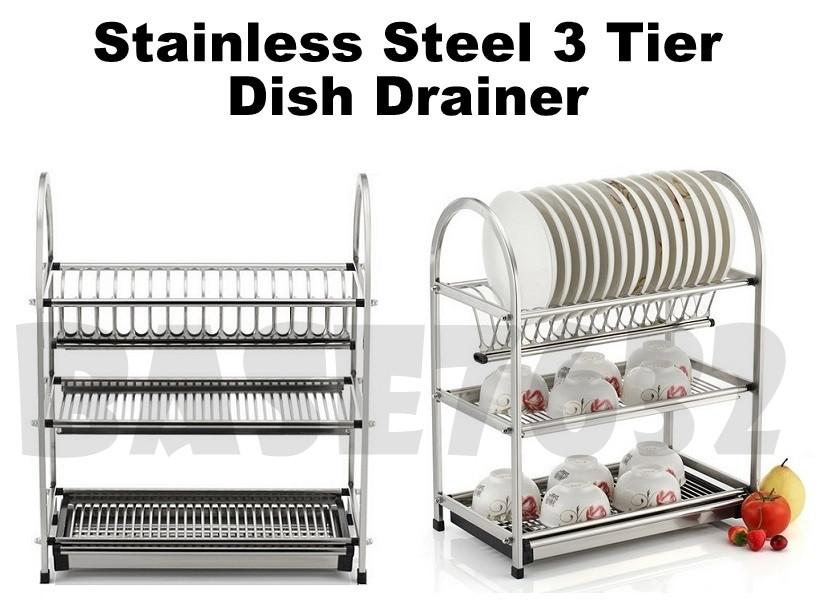 XL Large 3 Tier Stainless Steel  Dish Drainer Drying Rack Organizer
