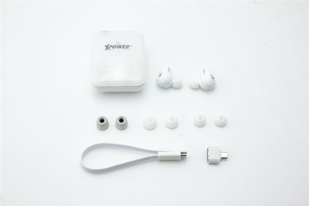 XPower BE2 True Wireless Bluetooth Earbuds w/charging case - White