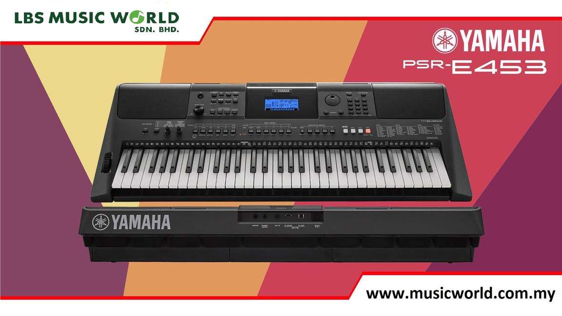 YAMAHA PSR-E453 with double X keyboard stand & dust cover