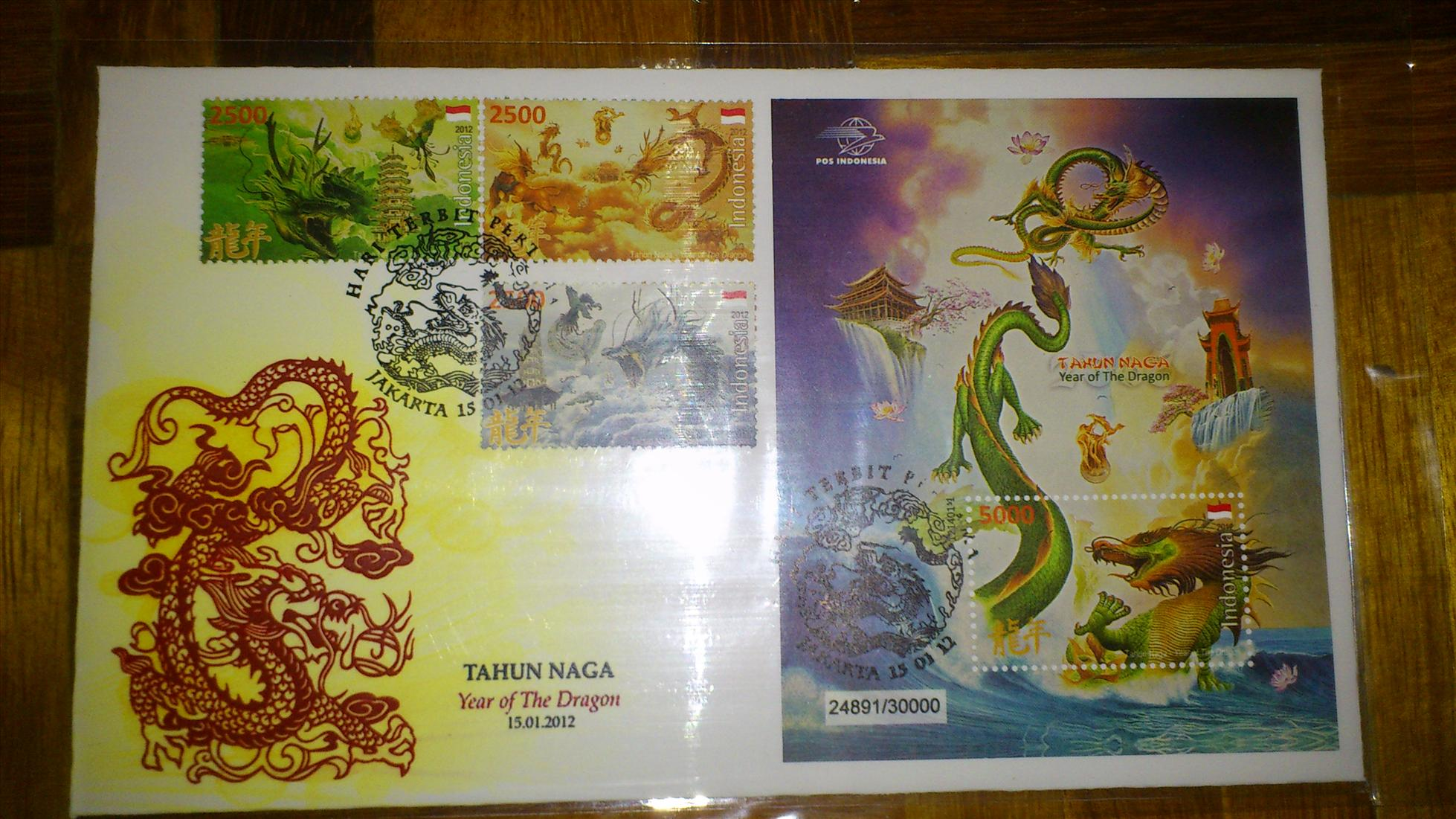 Year of Dragon Special Cover 2012 - Indonesia MS + Stamps