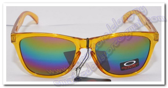 Yellow Oakley Frogskins Sunglass Rainbow Lens