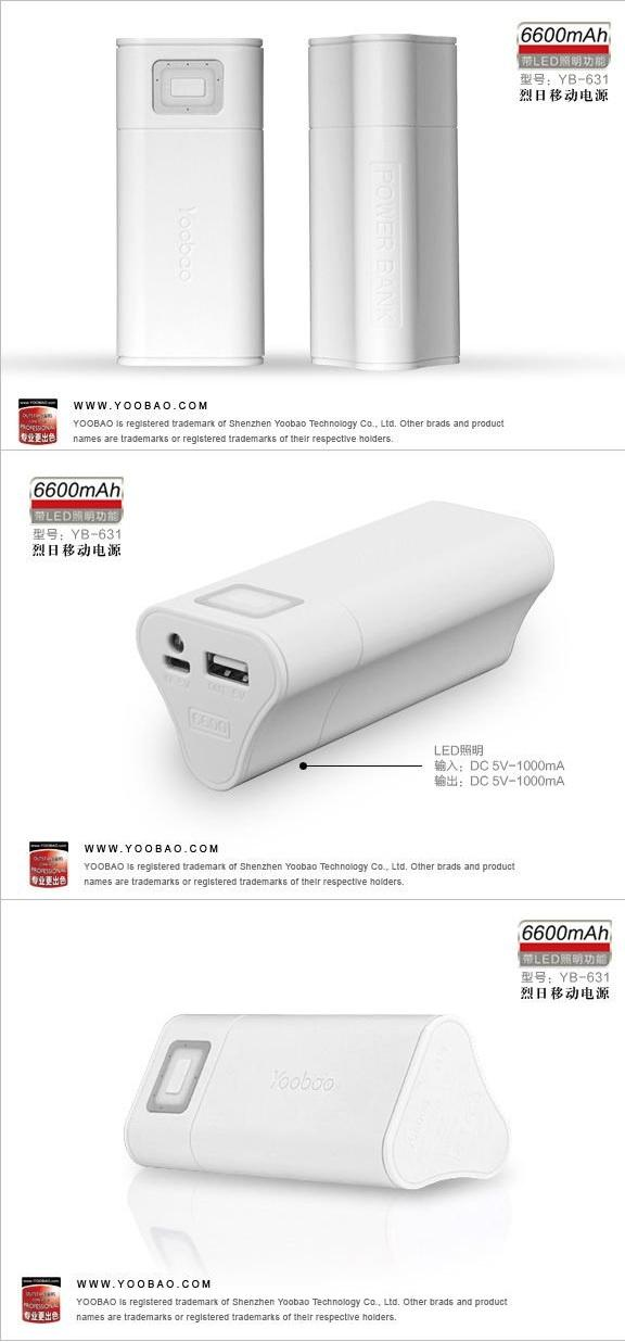YOOBAO Power Bank 6600mAh PORTABLE CHARGER BATTERY SAMSUNG IPAD IPHONE