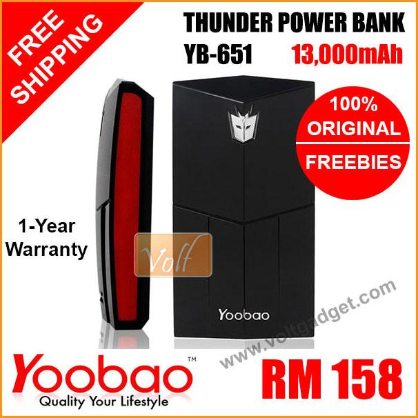 Yoobao Power Bank YB-651 13000mah 13000 100% ORIGINAL portable charger