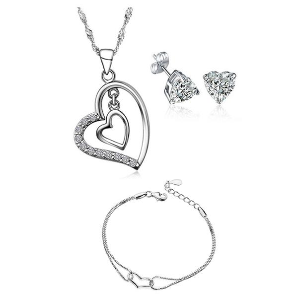 YOUNIQ Heart to Heart 925 Sterling Silver Necklace w/Cubic Zirconia