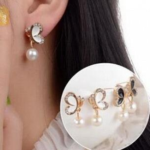 Youth Butterfly Diamond Pearl Earrings