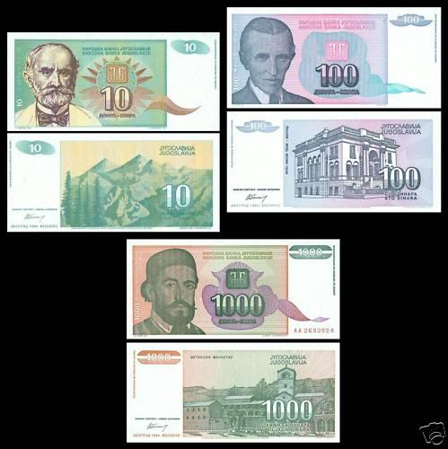 YUGOSLAVIA in set 3 pcs UNC