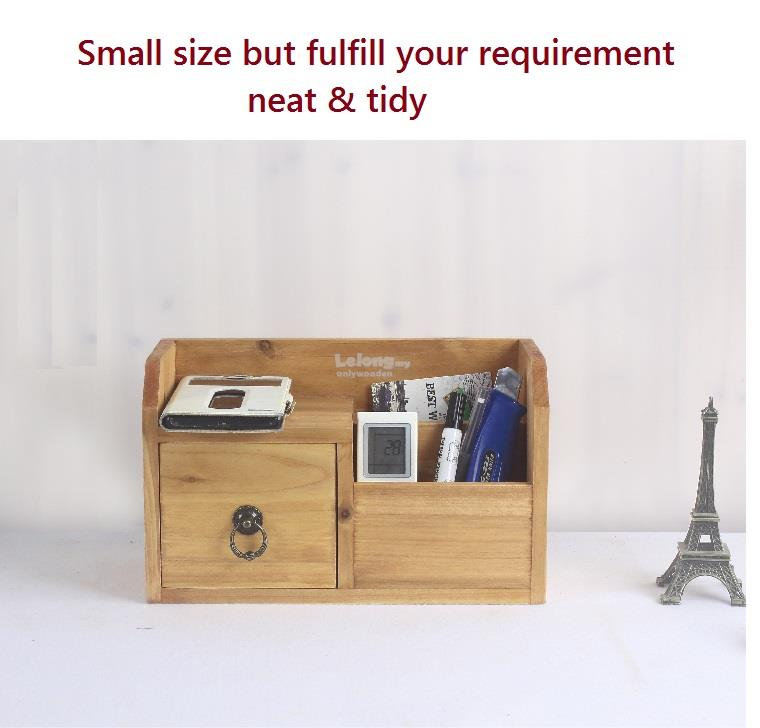Zakka Solid Wood Small Drawer Rack, Retro Storage, Remote Control Box