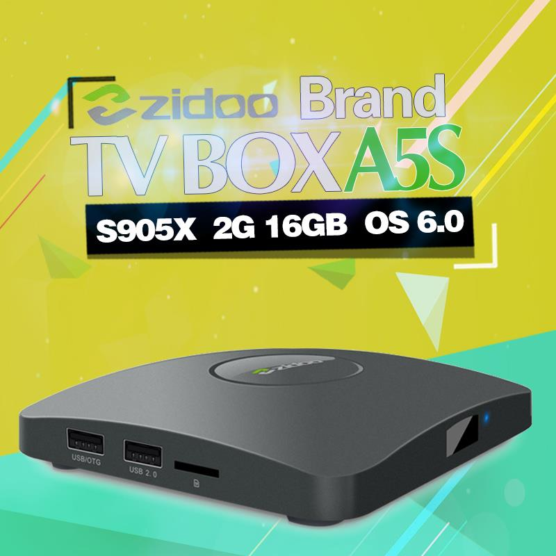 ZIDOO A5S Amlogic S905X Android 6.0 4K TV BOX WIFI BT 4.0 2G/16G IPTV