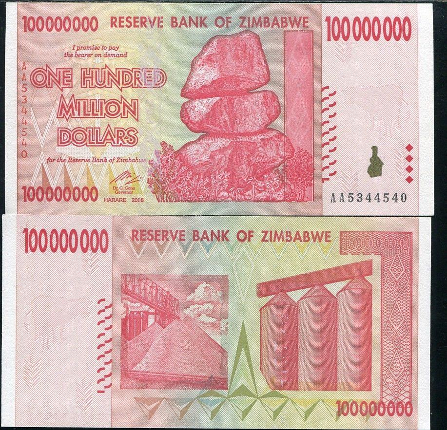 ZIMBABWE 100 MILLION DOLLARS 2008 P 80 UNC