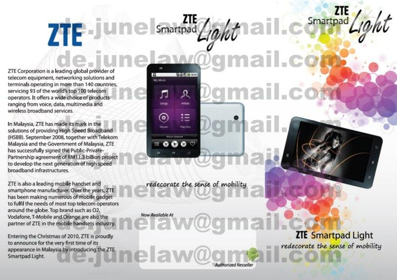 ZTE smartpad Light V9 GPS Android tablet 3G like Galaxy Tab hTc flyer