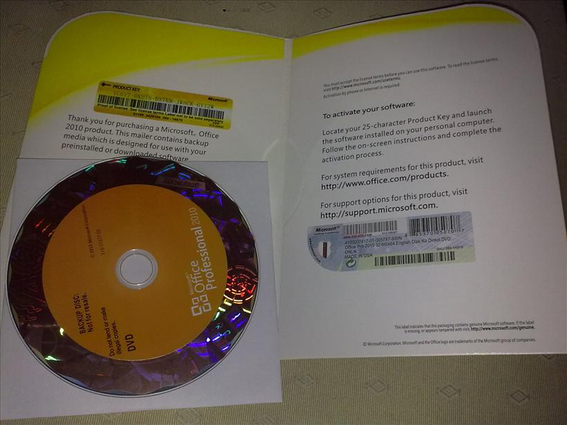 Microsoft Office Professional 2010 OEM DVD with COA. This Office