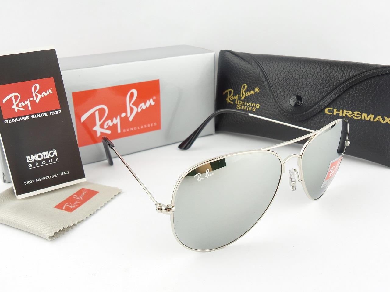 ray ban silver glass aviator  silver mirrored ray ban aviators
