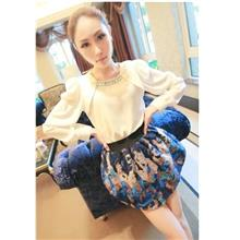 SY5517 Korean Style Long Sleeve Blouse color White