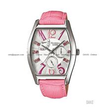 CASIO SHE-3026L-7A2 SHEEN swarovski retrograde tonneau leather pink