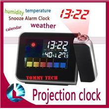 Digital Weather Temperature Humidity Wall Projection Alarm Clock LED