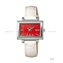 CASIO LTP-1332L-7A STANDARD rectangular date leather strap red white