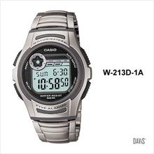 CASIO W-213D-1AV STANDARD 5 alarms stopwatch 2 time SS bracelet black