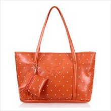 LG033 Korean style Polka dot Tote Handbag with matching purse