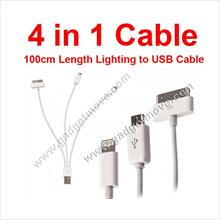 Samsung Galaxy S S2 S3 S4 Note 1 2 Grand Duos Iphone 4 in 1 USB Cable