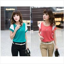 SY8073 Korean Office Lady Blouse - Green / Pink