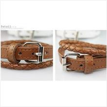 **BeautyMyth** Buckle Leather Bracelet ~ White/ Brown
