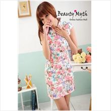 **BeautyMyth** V Neck Flowery Red Cheongsam Q00791 - S , L