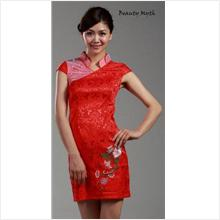 **BeautyMyth** Graceful Embroidery Cheongsam Red Dress Q00866 -S, M, L..
