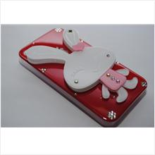 3D Rabbit Crystal Diamond Mirror Casing for iPhone 4/ 4S (Red)
