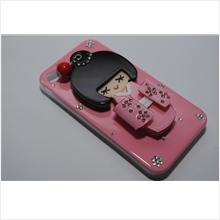 3DJapanese Girl Crystal Diamond Mirror Doll Casing iPhone 4/4S (Pink)