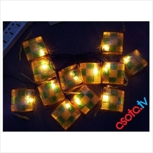 Hari Raya Decoration - Yellow & Green Ketupat - LED Lights