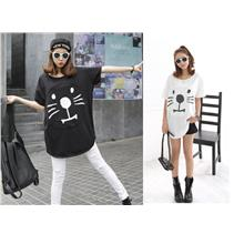 SY7777 Big Cat Blouse - Black / White