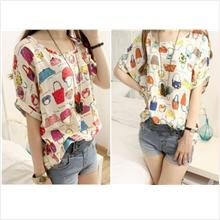 SY7348  Short Sleeve Youthful Blouse -Red / Yellow