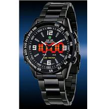 ORIGINAL WEIDE dual time LED wh1009 white ful black SPORT DIGITAL anal