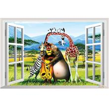 3D Window Scenery-Madagascar Alex Gloria Marty Wall Decals Sticker Kid