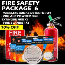 Fire Safety Package 6 (Extinguisher+ 4x Smoke Detector+Fire Blanket )