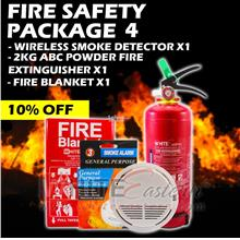 Fire Safety Package 4 (Extinguisher+Smoke Detector+Fire Blanket)