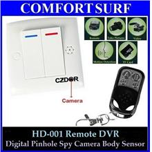 Pinhole Spy Camera Body Sensor Power Switch Wireless Remote DVR