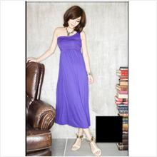 Dinner dress- Oblique wrinkle design long dress 3963
